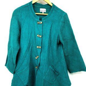 Habitat Womens Button Down Teal Jacket Knit Top S